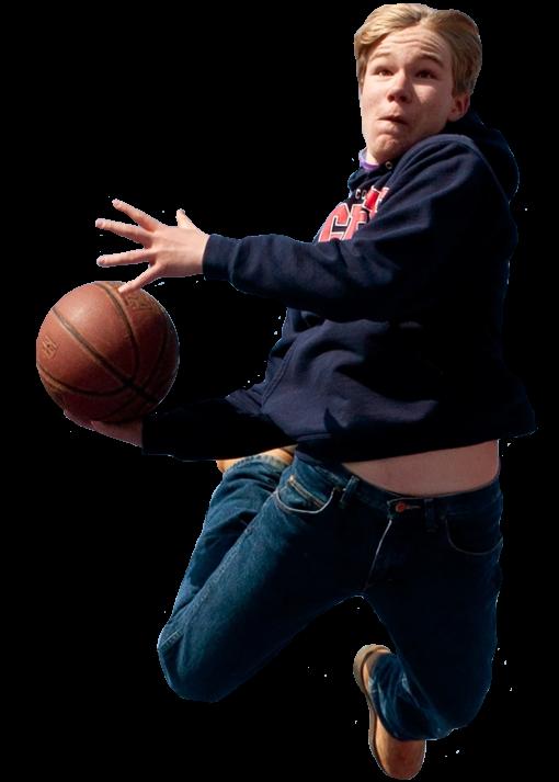 kid playing basketball at wichita sports forum
